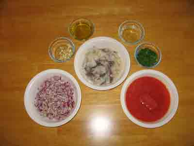 Ingredients for kalamarakia krasata.