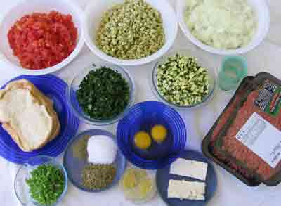 Ingredients for greek recipe keftedes kalokairinoi summer meatballs.