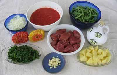 Ingredients for greek food recipe moschari me fasolakia
