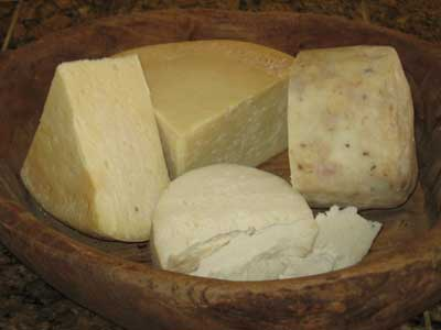 Artisanal Greek cheeses, myzithra and kefalograviera