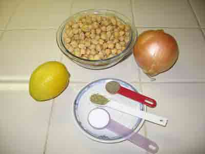 Ingredients for garbanzo bean soup.