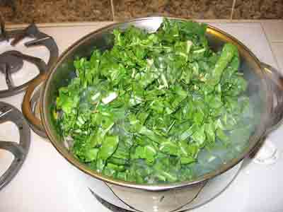 Greens in the pot.